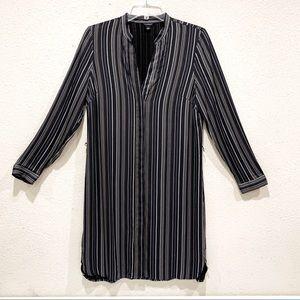 Ann Taylor Blue/White/Yellow Stripes Midi Dress